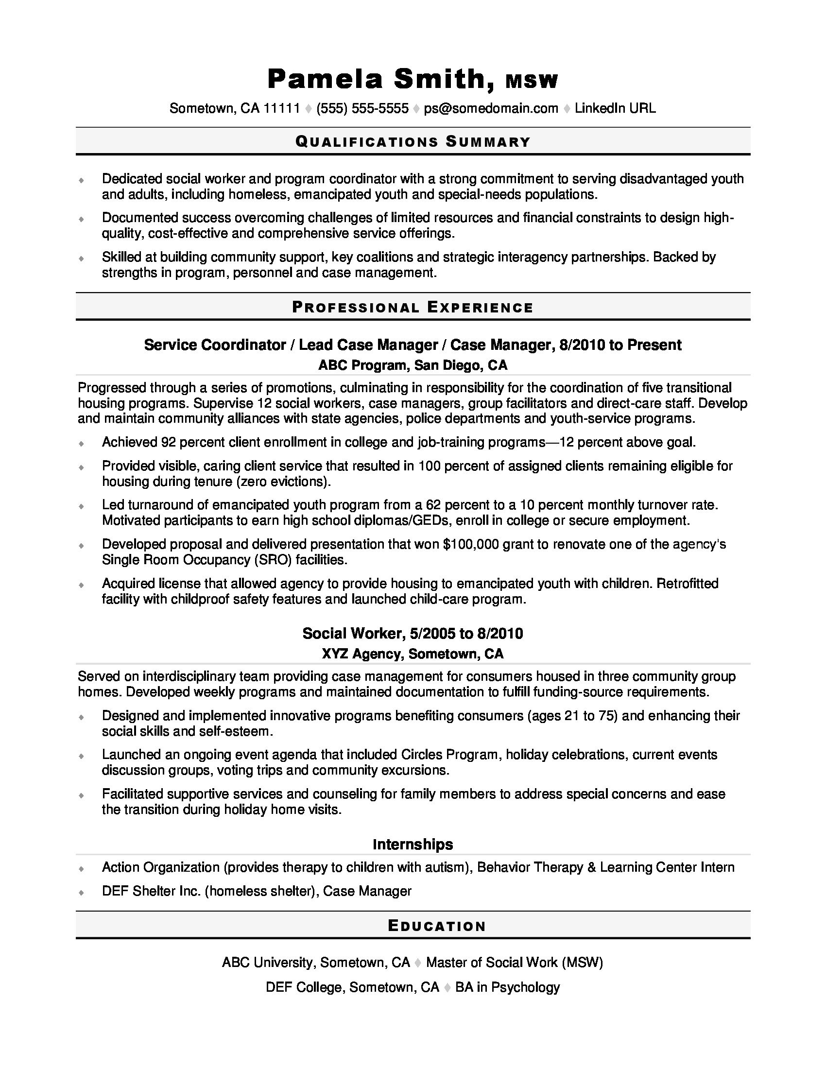sample cover letters for social workers