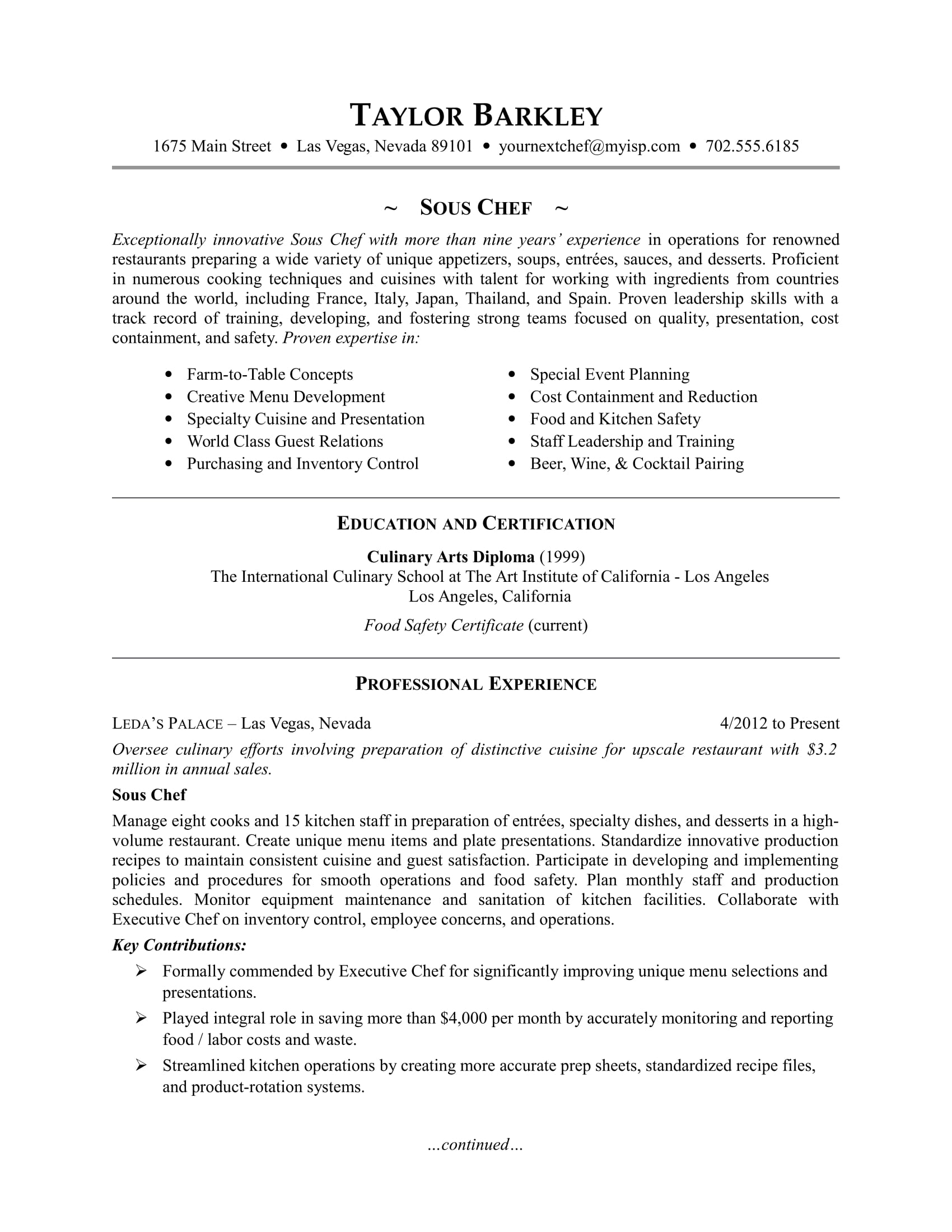 Sous Chef Resume Sample Monster Com