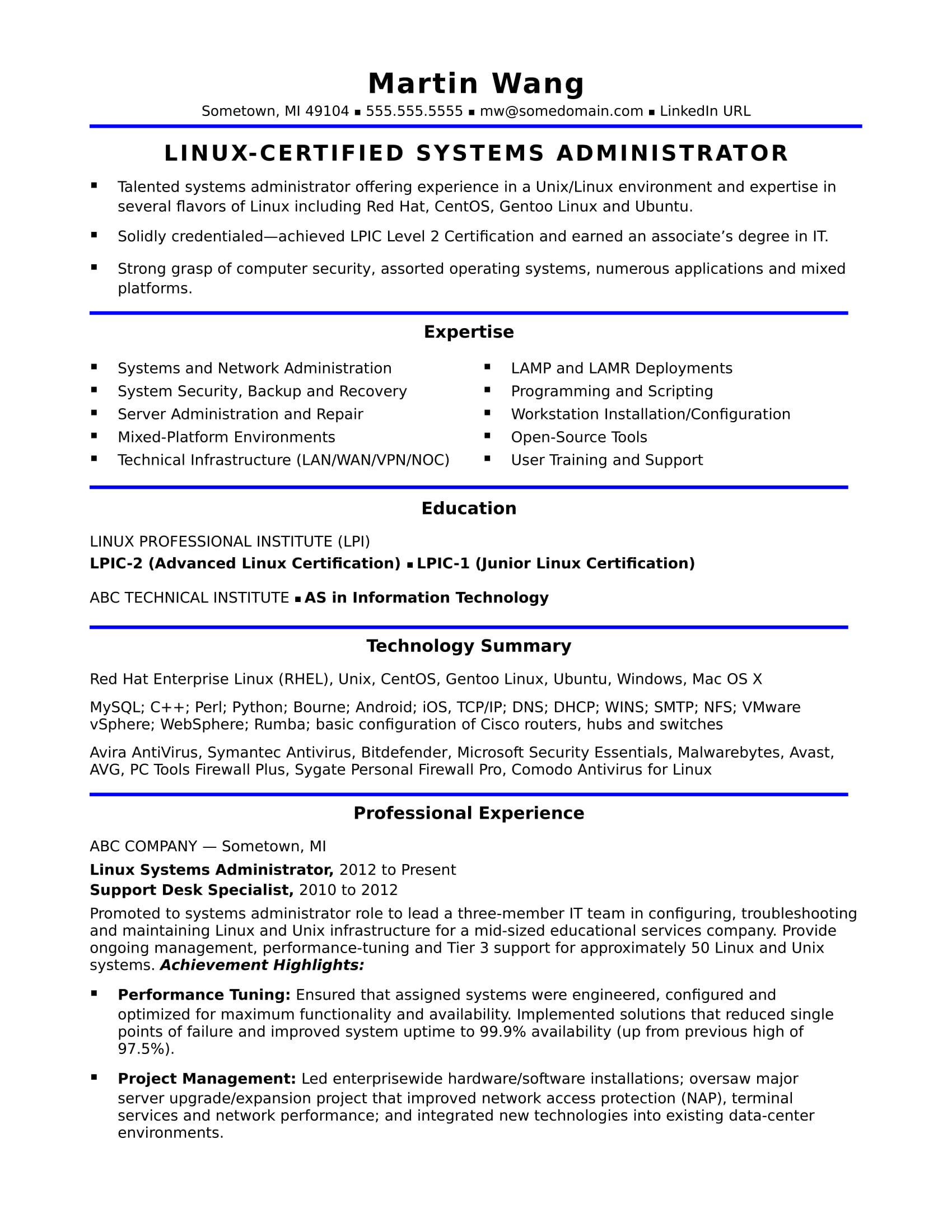sample resume for a midlevel systems administrator