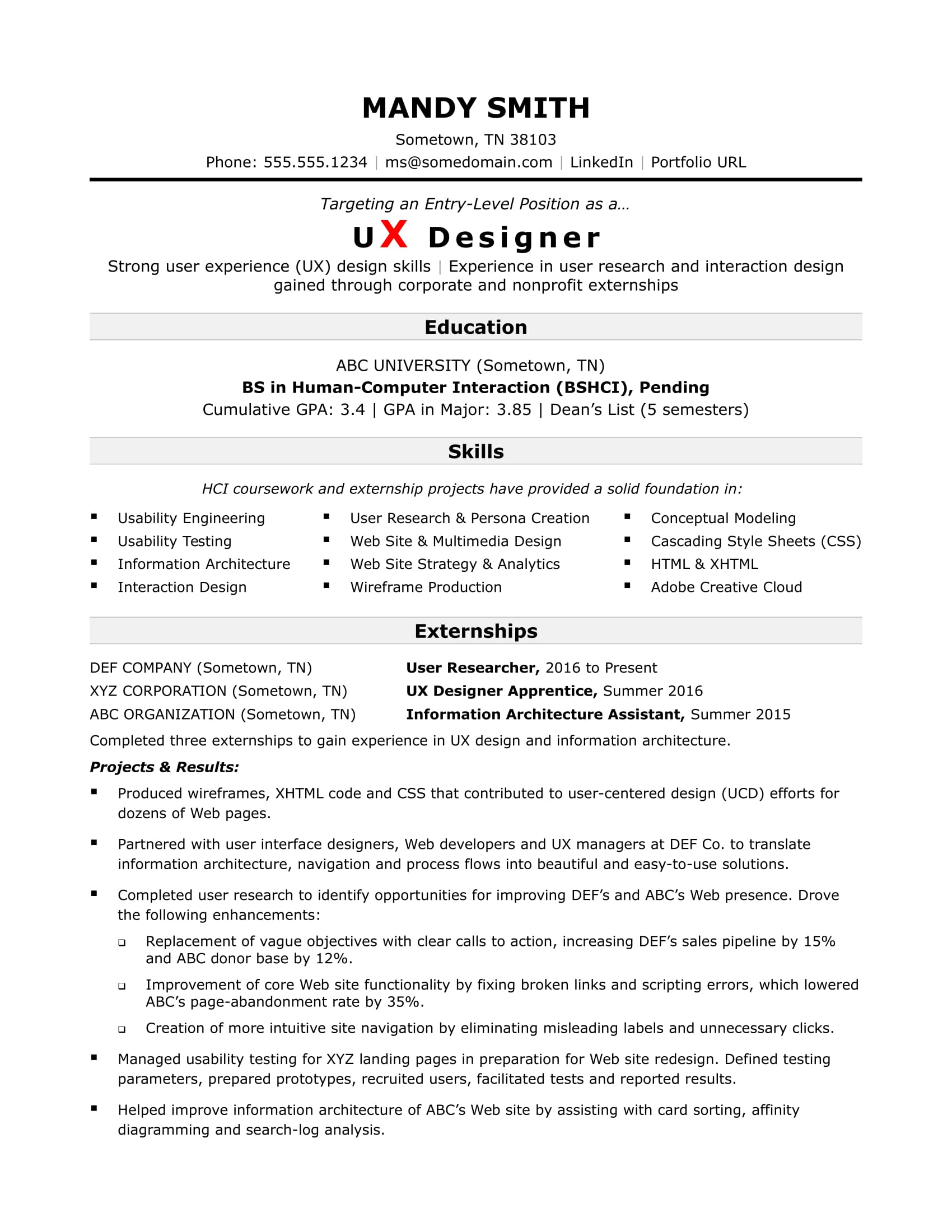 Sample Resume For An Entry Level Ux Designer Monster Com