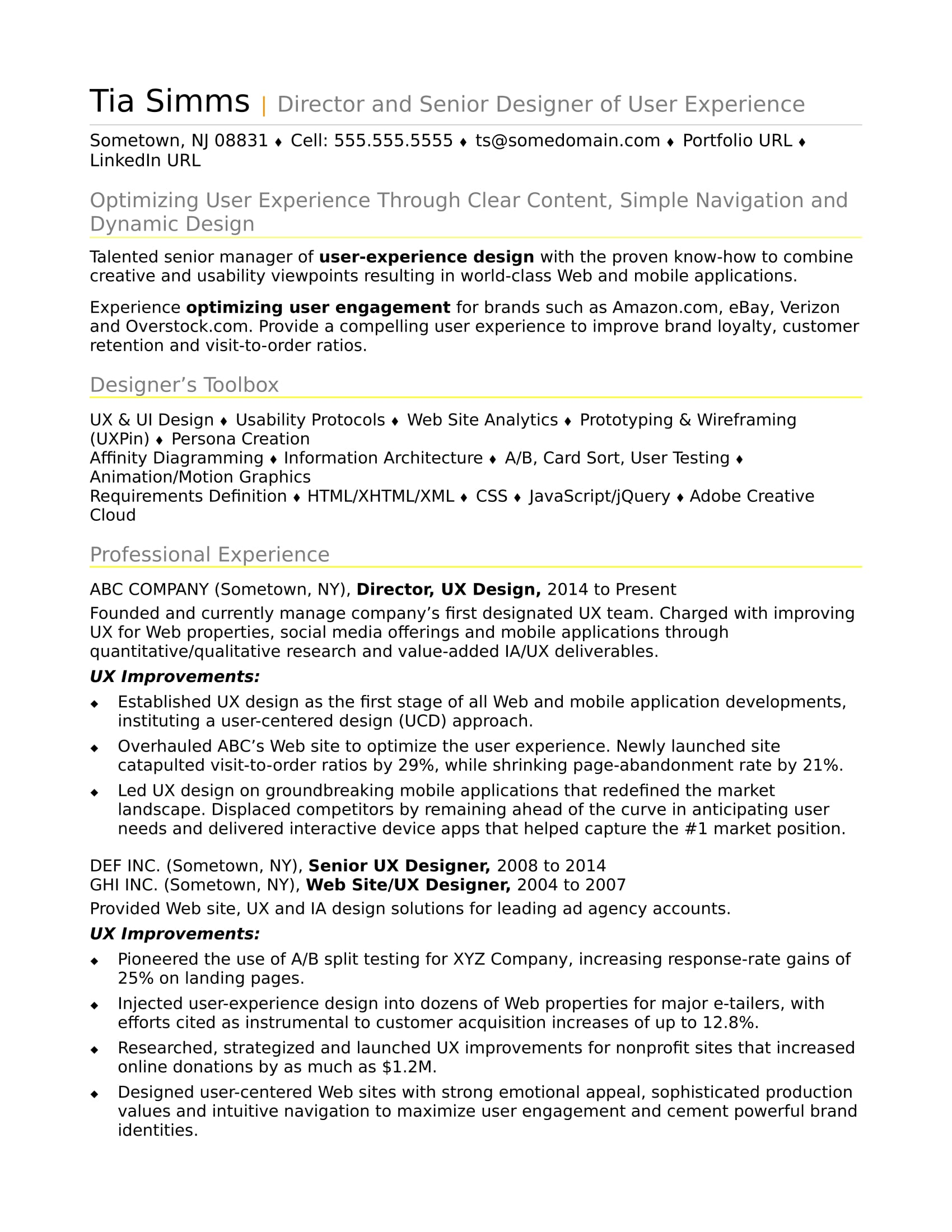 sample resume for an experienced ux designer
