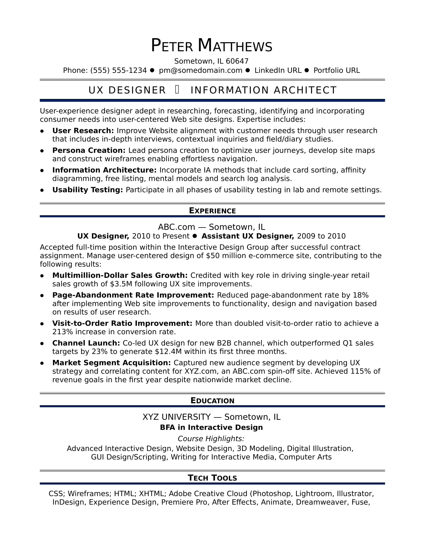 sample resume for a midlevel ux designer
